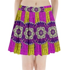 Decorative Leaf On Paper Pleated Mini Skirt