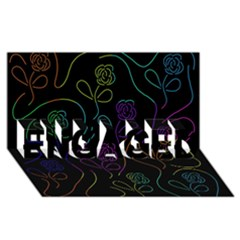 Flowers - pattern ENGAGED 3D Greeting Card (8x4)