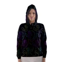 Flowers - pattern Hooded Wind Breaker (Women)