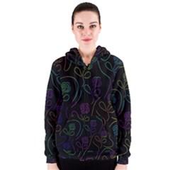 Flowers - pattern Women s Zipper Hoodie