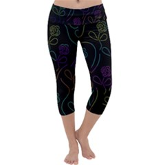 Flowers - pattern Capri Yoga Leggings