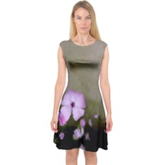Purple Painted Flowers Capsleeve Midi Dress