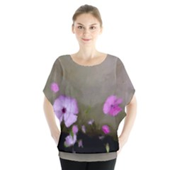 Painted Purple Flowers Batwing Chiffon Blouse