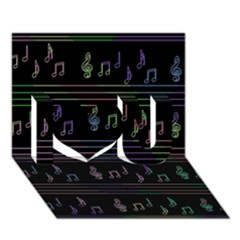 Music pattern I Love You 3D Greeting Card (7x5)