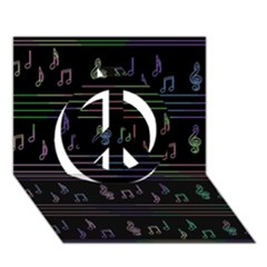 Music pattern Peace Sign 3D Greeting Card (7x5)