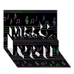 Music Pattern Miss You 3d Greeting Card (7x5)