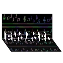 Music pattern ENGAGED 3D Greeting Card (8x4)