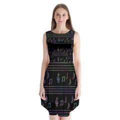 Music pattern Sleeveless Chiffon Dress