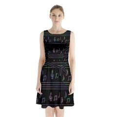 Music pattern Sleeveless Chiffon Waist Tie Dress