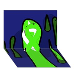 Green snakes Ribbon 3D Greeting Card (7x5)