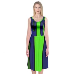 Green snakes Midi Sleeveless Dress