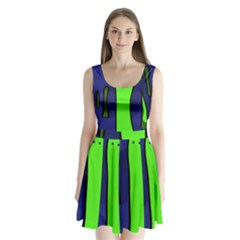 Green snakes Split Back Mini Dress