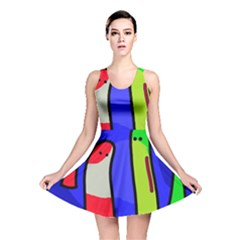 Colorful snakes Reversible Skater Dress