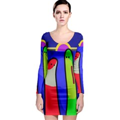 Colorful snakes Long Sleeve Bodycon Dress