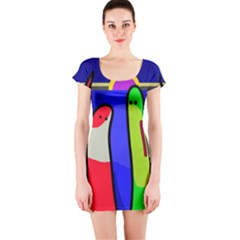 Colorful snakes Short Sleeve Bodycon Dress