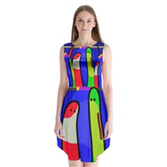 Colorful snakes Sleeveless Chiffon Dress