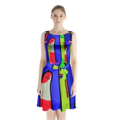 Colorful Snakes Sleeveless Chiffon Waist Tie Dress