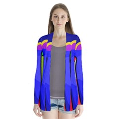 Colorful Snakes Drape Collar Cardigan