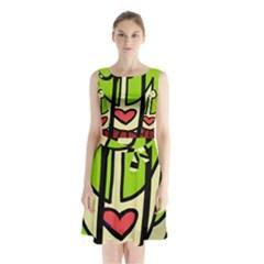 Duck Sleeveless Chiffon Waist Tie Dress