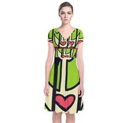 Duck Short Sleeve Front Wrap Dress