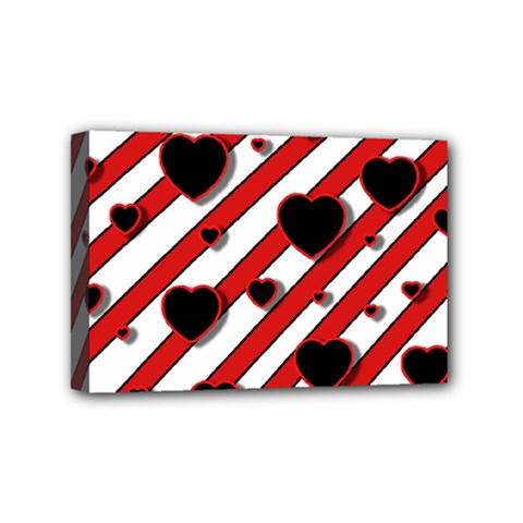 Black and red harts Mini Canvas 6  x 4