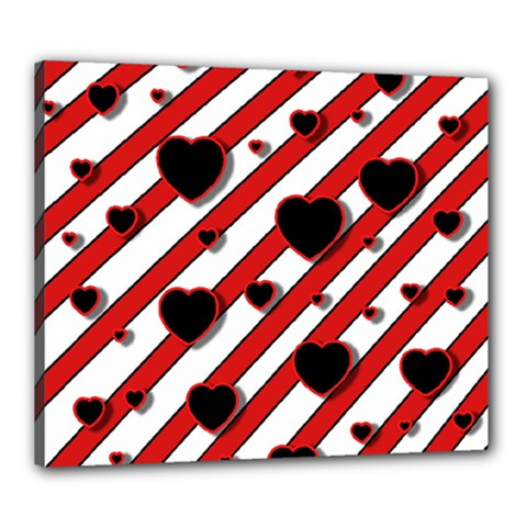 Black and red harts Canvas 24  x 20
