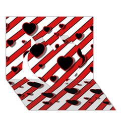Black and red harts Heart 3D Greeting Card (7x5)