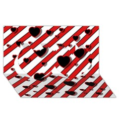Black and red harts Twin Hearts 3D Greeting Card (8x4)