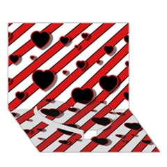 Black and red harts Heart Bottom 3D Greeting Card (7x5)