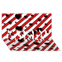 Black and red harts SORRY 3D Greeting Card (8x4)