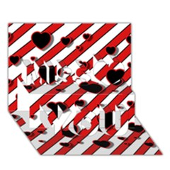Black and red harts Miss You 3D Greeting Card (7x5)