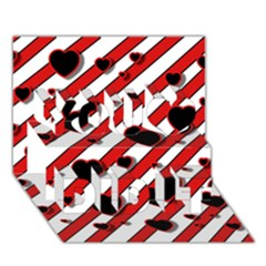 Black and red harts You Did It 3D Greeting Card (7x5)