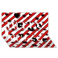 Black and red harts Merry Xmas 3D Greeting Card (8x4)