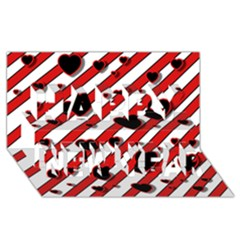 Black and red harts Happy New Year 3D Greeting Card (8x4)