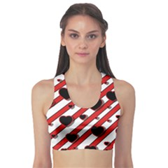 Black and red harts Sports Bra