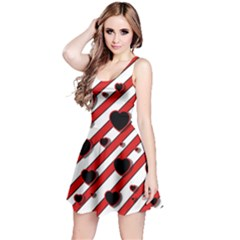 Black and red harts Reversible Sleeveless Dress