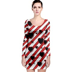 Black and red harts Long Sleeve Bodycon Dress
