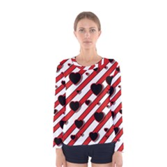 Black and red harts Women s Long Sleeve Tee