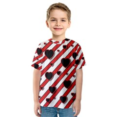 Black and red harts Kid s Sport Mesh Tee
