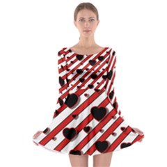 Black and red harts Long Sleeve Skater Dress