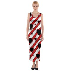 Black And Red Harts Fitted Maxi Dress