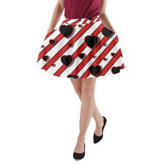 Black and red harts A-Line Pocket Skirt
