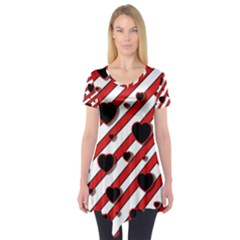 Black and red harts Short Sleeve Tunic