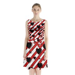 Black and red harts Sleeveless Chiffon Waist Tie Dress