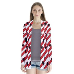 Black and red harts Drape Collar Cardigan