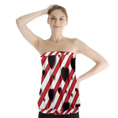 Black and red harts Strapless Top
