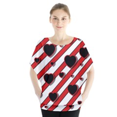 Black and red harts Blouse