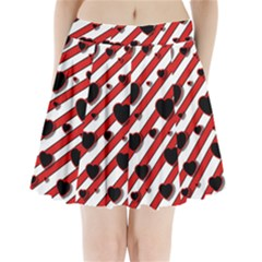 Black and red harts Pleated Mini Skirt