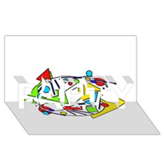 Catch Me Party 3d Greeting Card (8x4)