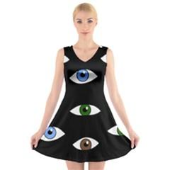 Look at me V-Neck Sleeveless Skater Dress